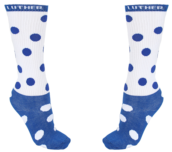 Sock Blue And White Polka Dot Tube Sock Luther At Top