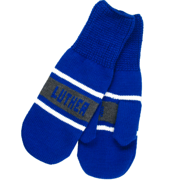 Mittens Knit Blue Luther
