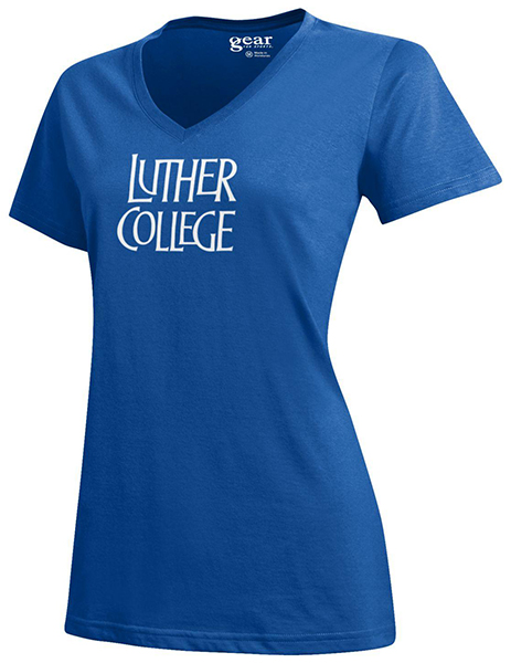 Luther College Stacked V Tee
