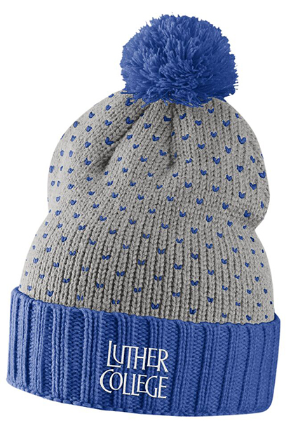 Luther College Stacked Beanie With Pom